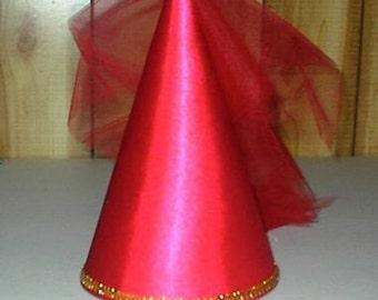 Cute Red Satin Princess Renaissance Damsel Medieval Cone Hat