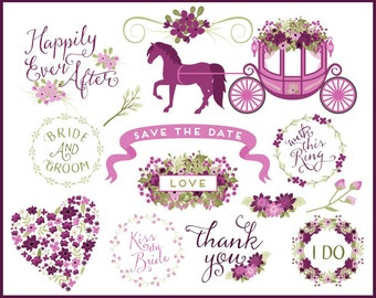 Wedding Words Clip Art | Wedding Carriage Graphics | Spring Flower Clip Art | Horse and Carriage | Ribbon Clip Art | Digital Overlays