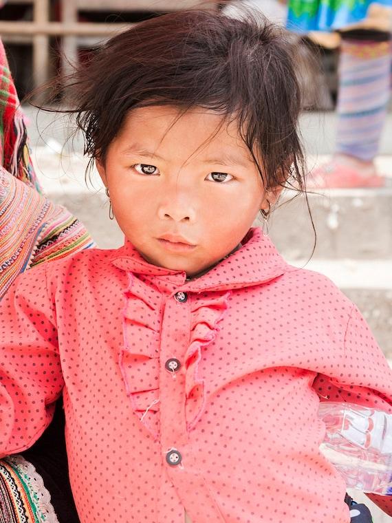 TRIBE GIRL. Vietnam Print, Vietnamese Girl, Travel Photography, Child Portrait,Photographic Print