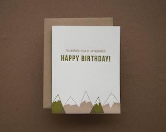 Mountain Adventures Birthday Card - Folded Card + Envelope
