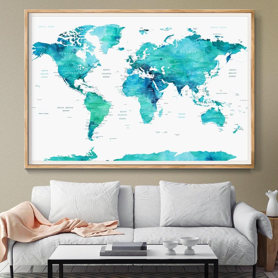 Erfreut Gerahmte Weltkarte Für Büro Bilder - Benutzerdefinierte ...