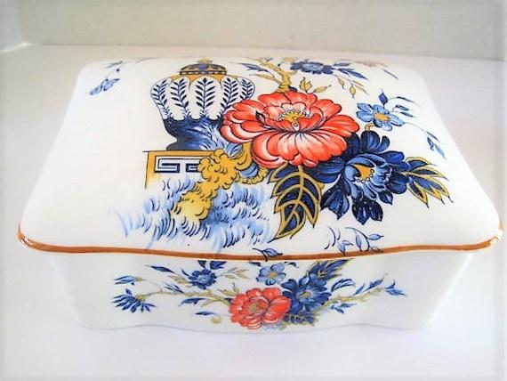 Bone China Trinket Box, Signed Crown Staffordshire, Penang pattern,  Orange Blue,  Made in England, Bone China Jar