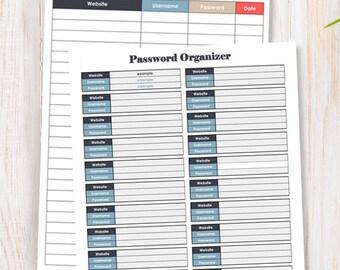 PASSWORD ORGANIZER - time tracker in 30 minute intervals - Instant Download
