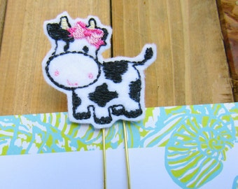 Cute Cow Planner Paper Clip!  Large Gold Paperclip or Bookmark!  Girly Cow Planner Accessory, Stationery Supply
