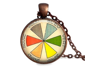 Color wheel necklace artist gift vintage French art teacher jewelry painter pendant.