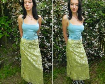 Chartreuse Skirt With Champagne Velvet Leaves