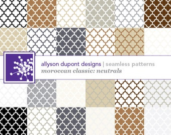 Moroccan Classic Digital Pattern Pack (Illustrator CS3) - Neutral Colors - Brown, Black, White, Ivory, Gray & Beige