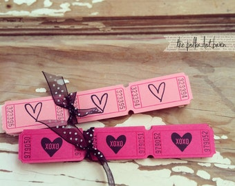 Heart XOXO Pink carnival tickets - Heart Tickets - Pink Tickets - Wedding Tickets - Coral Tickets - Wedding - Valentines - Tickets -Carnival