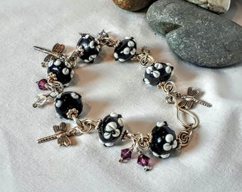 Bead charm and dragonfly bracelet