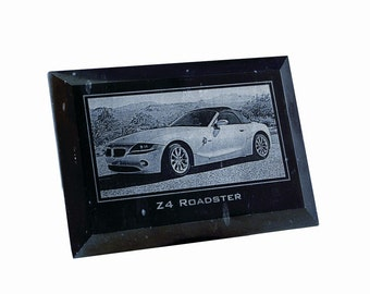 Personalized Black Marble 5x7 Portrait Plaque - Laser Engraved with Your Photo