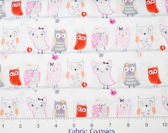 Timeless Treasures~ FUN-C4625 WHT~ OWLS in a Row on a White Background ~  By The Half Yard ~