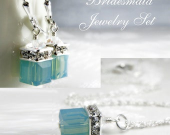 Mint Green Swarovski Crystal Jewelry, Sterling Silver, Cube Pendant Necklace and Earrings Set, Spa Bridesmaid Gift, Spring Wedding, Handmade