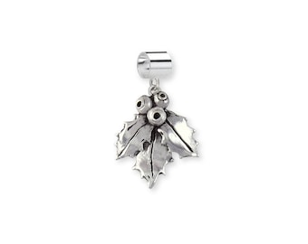 Sterling Silver  Holly Charm Slide Jewelry HLY1-PNS