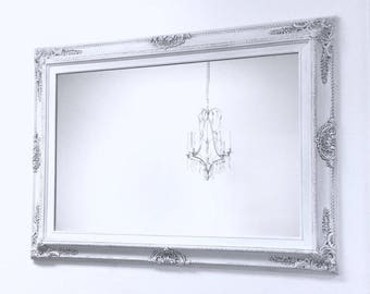 "DECORATIVE WALL MIRRORS Framed Baroque Vanity Mirror Wall Mirror 37""x27"" Decorative Gray White Shabby Chic Framed Mirror Rectangle"