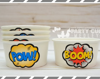 Super Hero Birthday Party Ice Cream Cups-Set of 10 or 20
