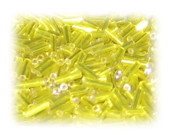 7 x 2mm Yellow Silver-Lined Bugle Bead, 1 oz. bag