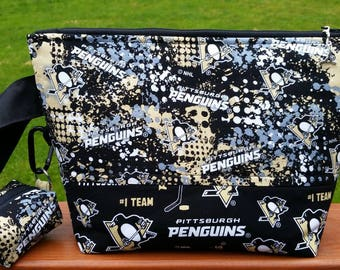 Ready to Ship! Pittsburgh Penguins Knitting Medium Project Bag with Matching Notions Pouch Handmade