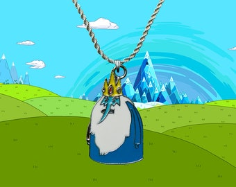 Adventure Time sterling silver / faux leather necklace with Ice King charm