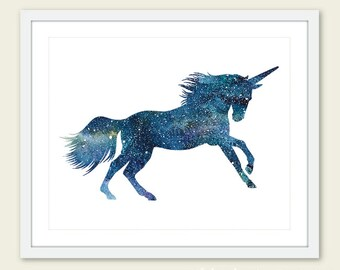 Unicorn Print - Watercolor Unicorn Art Print - Unicorn Wall Art - 8x10 - Blue Unicorn Print - Unicorn Art - Aldari Art