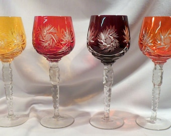 Set 4 Large Cut to Clear Crystal Wine Hocks, Spectacular Colors, 10 Ounce Capacity