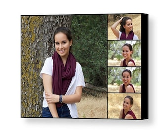 Custom Senior Portrait Collage - 11x14 Giclée Print on Canvas - Collage Using Five of your Favorite Senior Portrait Images - Made in USA