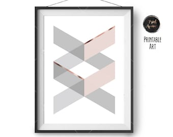 Blush Gray Copper Print, Printable Art, Scandinavian Print, Geometric Print, Art Prints, Nursery Art, Wall Decor, Large Print, Print Avenue