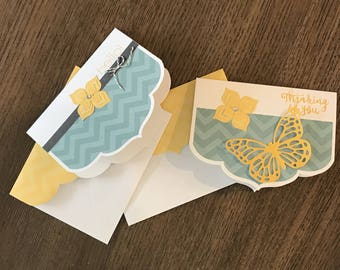 Two hand made greeting cards; Hello & Thinking of You; w/ matching envelopes