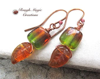 Autumn Leaves Earrings, Green & Amber Glass, Earthy Fall Colors, Casual Jewelry for Women, Gift for Her, Forged Copper Red Bud Earwires E499