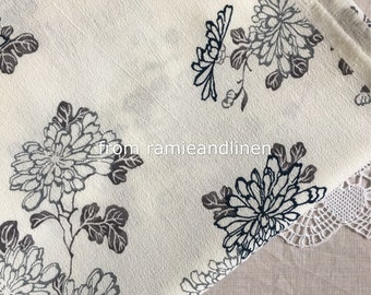"Japanese crepe fabric, chrysanthemum floral print cotton kimono fabric, half yard by 47"" wide"