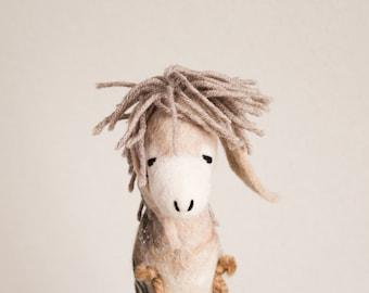 Felt Donkey kids gift - Brunhilda- Art Toy Felted Toy Plush stuffed Felt Toy Marionette Puppet Felt Animal beige cream neutral MADE TO ORDER