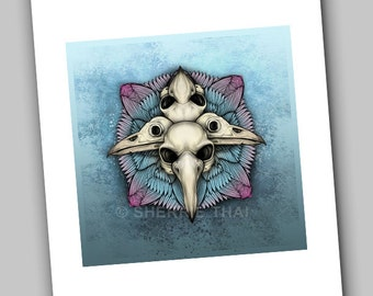Bird Skulls Mandala, Gothic Horror Illustration, Art Print, Sale