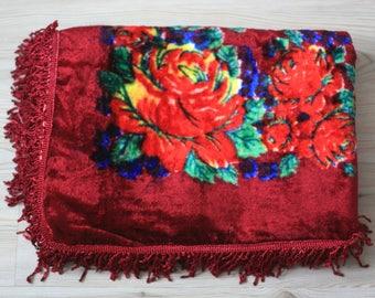 Soviet Vintage Plush Tablecloth or Bedspread - Bordo Fringed Table Cloth - Velvet Boho Home Decor - Made in USSR