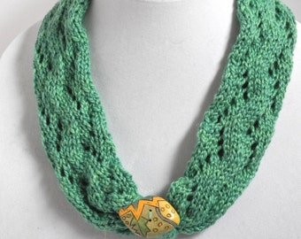 Knit Necklace in Sea Green Merino and Silk