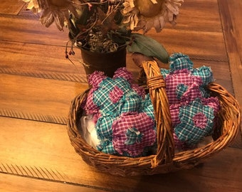 Homespun Ornies Bowl Fillers PrImITive Flowers Purple Turquoise Spring Easter Summer Blue Rag Quilt