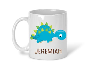 Kids Personalized Ceramic Mug - Dinosaur with Name, Child Personalized Mug, Colored Rim and Handle, Color Heat Reactive
