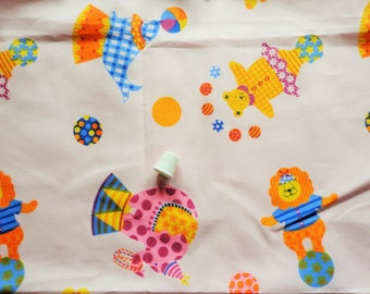 circus novelty print vintage cotton blend fabric -- 44 wide by 1 yard
