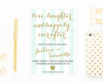 Engagement Party Invitation, Engagement Invites, Engagement Party Invites, Engaged, Engagement Party Ideas, Engagement, Mint and Gold [206]