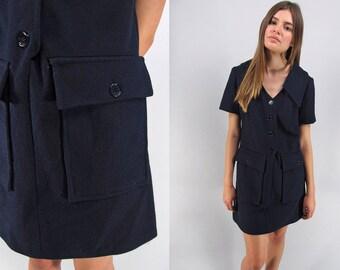 60s Mod Shift Dress / Vintage Scooter Dress / Mod Mini Dress / Wool Shift Dress Δ size: M