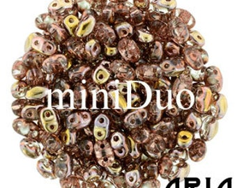 CRYSTAL CAPRI GOLD: MiniDuo Two-Hole Czech Glass Seed Beads, 2x4mm (10 grams)