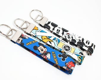 Mickey & Friends FOB - Characker Key Chain / Key Fob / Wristlet - Choose Your Fabric and lenght