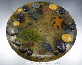 """ROCKPOOL - Rolling Rocks and Starfish - Art Glass """"Plate"""" Display by Stephanie Gough sra fhfteam leteam"""
