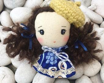 Handmade brooch- Cute girl with beret