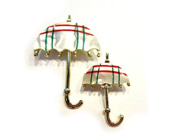 Vintage Lucite Umbrella Pins Gold Brooches Red Green Stripe Jewelry Decoration Gift Idea Under 10 Package Card Decor