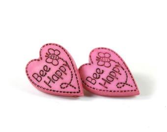 Heart earrings, Heart studs, Pink heart earrings, Bee happy earrings Bee happy studs