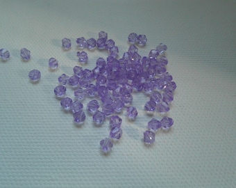 lot 30 4x3x3mm purple bicone beads