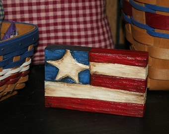Hand Carved Wood Shelf Sitter - Hand Painted - Flag -Americana - OFG - FAAP
