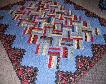 """Hand Made Quilt Machine Quilted-100% cotton fabric 78"""" x 91"""" Double-Full size"""