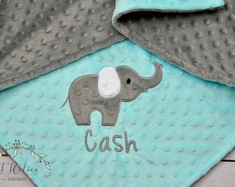 Personalized Baby Blanket-Personalized Elephant baby blanket-Elephant Minky blanket-Aqua Personalized Minky baby blanket Boy Girl Blanket