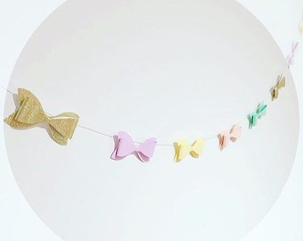 Paper and glitter bow garland - more colour options - pink mint gold yellow