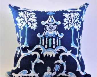 Navy Chinoiserie Pillow Cover